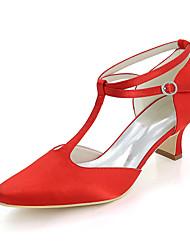 Недорогие -Жен. Обувь Сатин Весна Лето Туфли лодочки Свадебная обувь Блочная пятка Квадратный носок для Свадьба Для вечеринки / ужина Серебряный