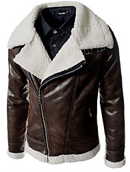cheap -Men's Punk & Gothic Leather Jacket - Solid Colored Shirt Collar / Long Sleeve