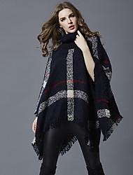 preiswerte -Damen Standard Mantel / Capes-Ausgehen Lässig/Alltäglich Einfach Einfarbig Rollkragen Langarm Acryl Herbst Winter Mittel Unelastisch