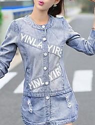 Women's Going out Casual/Daily Cute Fall Winter Denim Jacket,Letter Round Neck Long Sleeves Regular Cotton Nylon