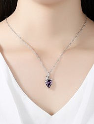 cheap -Women's Cubic Zirconia Rhinestone Cubic Zirconia Silver Pendant Necklace - Simple Elegant Silver Purple Red Necklace For Wedding