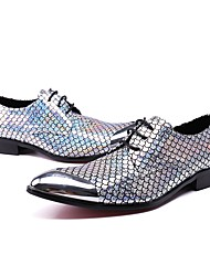 cheap -Men's Shoes Leather Winter Fall Formal Shoes Novelty Oxfords Sparkling Glitter for Wedding Party & Evening Silver