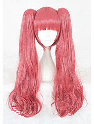 cheap -Synthetic Wig kinky Straight Synthetic Hair Pink Wig Women's Medium Length Capless