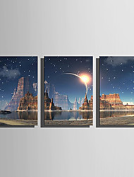 cheap -E-HOME® Stretched LED Canvas Print Art The Candle Flash Effect LED Flashing Optical Fiber Print Set of 3