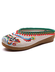 cheap -Women's Shoes Linen Spring / Fall Comfort / Novelty Clogs & Mules Round Toe Beige / Red / Blue / Party & Evening