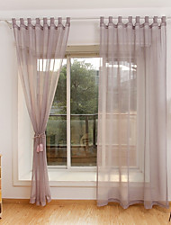 cheap -Rod Pocket Grommet Top Tab Top Double Pleat Curtain Formal Casual Modern , Piece Dyed Solid Bedroom Polyester Material Sheer Curtains