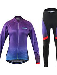 Arsuxeo Maglia con pantaloni da ciclismo Per donna Bicicletta Set di vestiti Asciugatura rapida Sfregamento ridotto Poliestere Elastene