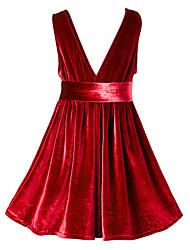 economico -Vestito Ragazza Per eventi Poliestere Tinta unita Manica lunga Vintage Blu Rosso