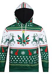 economico -Pupazzo di neve Babbo Natale Felpa con cappuccio Unisex Natale Feste / vacanze Costumi Halloween Verde A strisce Natale