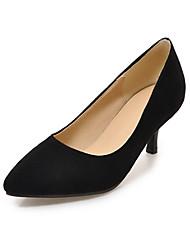Недорогие -Для женщин Обувь Нубук Весна Осень Удобная обувь Обувь на каблуках Заостренный носок Назначение Для праздника Черный Серый Красный