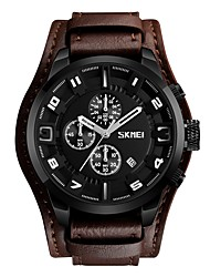 cheap -SKMEI Men's Wrist Watch Japanese Calendar / date / day / Water Resistant / Water Proof / Stopwatch Genuine Leather Band Casual Black / Brown / Large Dial
