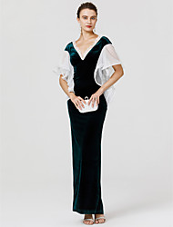 cheap -Sheath / Column V-neck Floor Length Velvet Formal Evening Dress with Lace Ruffles by TS Couture®