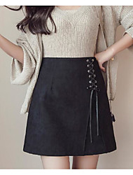 Women's Holiday Above Knee Skirts A Line Solid Spring Winter