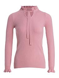 preiswerte -Damen Standard Pullover-Lässig/Alltäglich Einfach Solide U-Ausschnitt Langarm Acryl Herbst Winter Mittel Mikro-elastisch
