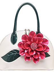 cheap -Women Bags Patent Leather Tote Flower(s) for Event/Party Casual All Season Blushing Pink Light Gold Dark Green Fuchsia Wine