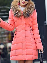 Недорогие -Пальто Изысканный Обычная На подкладке Для женщин,Однотонный На выход Полиэстер Полипропилен,Длинный рукав