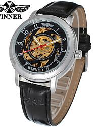 preiswerte -WINNER Damen Automatikaufzug Mechanische Uhr / Armbanduhr Transparentes Ziffernblatt Leder Band Freizeit / Elegant Schwarz