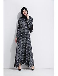 cheap -Women's Party Daily Wear Casual Kaftan Dress,Floral Round Neck Maxi Long Sleeve Polyester Elastane All Season High Waist Inelastic Opaque