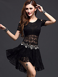 cheap -Belly Dance Dresses Women's Performance Lace Lace Short Sleeve Dress