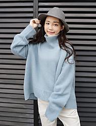 Standard Pullover Da donna-Da tutti i giorni Casual Semplice Romantico Tinta unita Dolcevita Manica lunga Lana Peluche Inverno Autunno