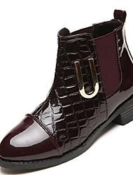 Damer Sko Gummi Vinter Militærstøvler Støvler Lave hæle Rund Tå Til Sort Bourgogne