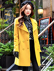 cheap -Women's Daily Work Simple Casual Street chic Winter Fall Coat,Solid Shirt Collar Long Sleeves Regular Wool Polyester Classic Button
