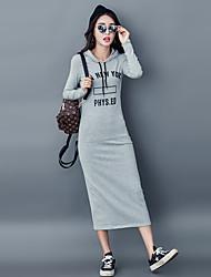 Feminino Reto Vestido,Casual Letra Com Capuz Médio Manga Comprida Algodão Outono Inverno Cintura Média Micro-Elástica Grossa