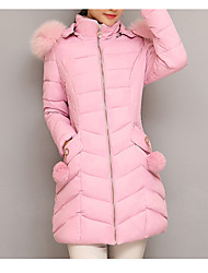 cheap -Women's Padded Coat,Casual Daily Going out Solid-Polyester Long Sleeves