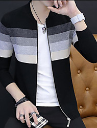 cheap -Men's Holiday Going out Casual Regular Cardigan,Print Round Neck Long Sleeves Rayon Polyester Others Spring/Fall Cross-Seasons Medium