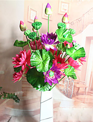 cheap -1 Branch Polyester Lotus Tabletop Flower Artificial Flowers