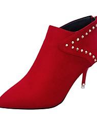 baratos -Mulheres Sapatos Couro Ecológico Inverno Coturnos Botas Dedo Apontado Botas Cano Médio Tachas para Casual Preto Cinzento Vermelho
