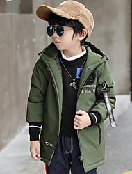 tanie Modna odzież dziecięca-Trencz Dla chłopców Jendolity kolor Geometryczny Black Camel Army Green