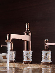 Antique Luxury Centerset High Quality Brass Valve Two Handles Three Holes Rose Gold , Bathroom Sink Faucet