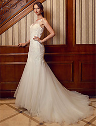 cheap -Mermaid / Trumpet Illusion Neckline Chapel Train Lace Tulle Wedding Dress with Appliques Lace by LAN TING BRIDE®