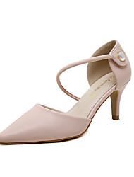preiswerte -Damen Schuhe Kunstleder Frühling Sommer Pumps High Heels Kitten Heel-Absatz Spitze Zehe Glitter Schnalle für Normal Kleid Rosa