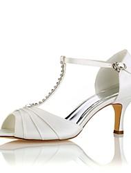 abordables -Femme Chaussures Satin Elastique Eté Escarpin Basique Chaussures de mariage Talon Aiguille Bout ouvert Cristal Ivoire