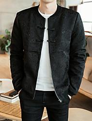 Pánské Bunda Jednoduchý Běžné/Denní Jednobarevné-Kabát Bavlna Akryl Jiné Dlouhý rukáv