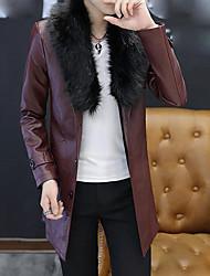 Pánské Jednobarevné Běžné/Denní Jednoduchý Kabát-Podzim Bavlna Akryl Kulatý Dlouhý rukáv Dlouhé