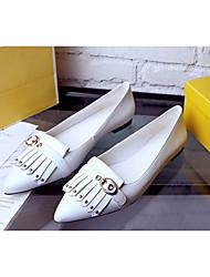 Feminino Sapatos Pele Real Pele Primavera Outono Conforto Rasos Raso Dedo Apontado para Casual Branco Preto