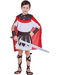 Spartiates La Grèce ancienne Rome antique Costume Enfant Costume Rouge et Blanc Vintage Cosplay Tissu Denim Demi manches Lolita Mi-long
