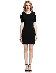 cheap -Women's Party Daily Vintage Casual Sexy Bodycon Sheath Dress,Solid Round Neck Above Knee Short Sleeve Rayon Polyester Spandex All Season