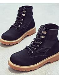Feminino Sapatos Pele Nobuck Primavera Outono Conforto Coturnos Botas Sem Salto Botas Curtas / Ankle para Casual Preto Camel