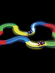 cheap -165PCS Magic Fluorescent Tracks Glow In The Dark LED Light Up Race Car Bend Flex Track