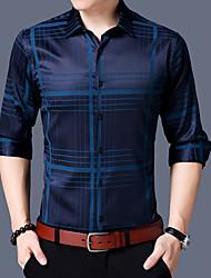 Masculino Camisa Social Casual Temática Asiática Houndstooth Algodão Colarinho de Camisa Manga Comprida