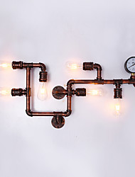 cheap -Retro Industrial Style Metal Wall Sconce Dining Room Game Room And Bar with 6 Light Water Pipe Wall lamp