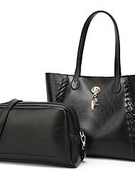 preiswerte -Damen Taschen PU Bag Set 2 Stück Geldbörse Set Reißverschluss für Normal Alle Jahreszeiten Schwarz Rosa Grau Kaffee Braun