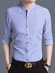 Masculino Camisa Social Casual Temática Asiática Listrado Algodão Colarinho Clerical Manga Comprida