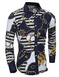 メンズ お出かけ ワーク オールシーズン シャツ,カジュアル パンク&ゴシック シャツカラー チェック コットン 長袖