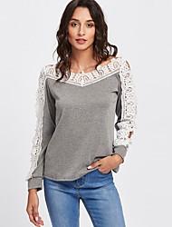 preiswerte -Damen Einfarbig T-shirt, Bateau Baumwolle Kunstseide