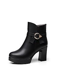 abordables -Mujer Zapatos PU microfibra sintético Invierno Otoño Botas hasta el Tobillo Botas Tacón Cuadrado Dedo redondo Botines/Hasta el Tobillo